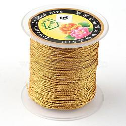 Round Metallic Cord, 6-Ply, Gold, 0.6mm, about 87.48 yards(80m)/roll(MCOR-L001-0.6mm-56)