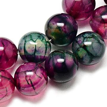veines de dragon agate naturelle brins de perles, pour la fabrication de bijoux de bricolage, teints, arrondir, mediumvioletred, 8 mm, trou: 1 mm; environ 48 perle / brin, 14.96(X-G-Q948-81D-8mm)