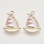 Alloy Enamel Pendants, with Crystal Rhinestone, Light Gold, Sailboat, Rosy Brown, 21.5x15.5x2.5mm, Hole: 2mm