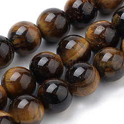 Natural Tiger Eye Beads Strands, Round, 6mm, Hole: 1mm; about 70pcs/strand, 15.7inches