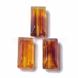 perles acryliques, pierre d'imitation, facettes, rectangle, chocolat, 34x15x12 mm, trou: 2 mm(X-OACR-T006-177)