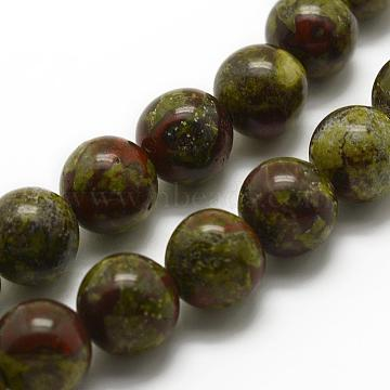 Natural Dragon Blood Beads Strands, Round, 10mm, Hole: 1mm; about 38pcs/strand, 15.3''(39cm)(G-K194-10mm-03)