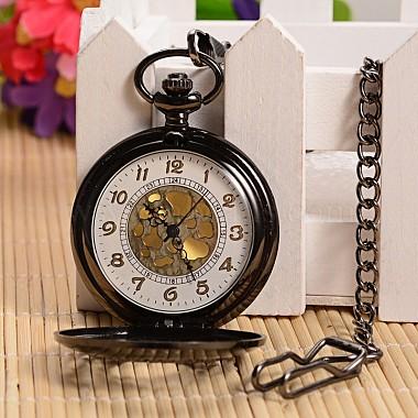 Открываться плоские круглые сплава подвеска карманные часы(X-WACH-L024-27)-3