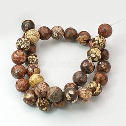"""15~16"""" brin de pierres fines rondes, jaspe en peau de léopard rouge, trou: environ 0.8 mm(GSR4mmC066)"""