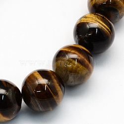 Natural Tiger Eye Round Beads Strands, 12.5mm, Hole: 1.5mm; about 30pcs/strand, 15.1inches
