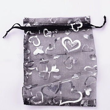 Organza Gift Bags, Silver Hearts on, with Drawstring, Black, 16x11cm(X-T02FD0C4)