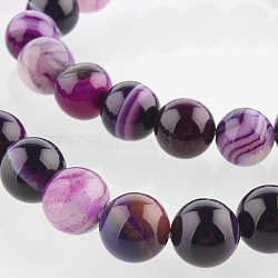 """Chapelets de perles rondes en pierre d'agate naturelle, teint, blueviolet, 8mm, trou: 1mm; environ 49 pcs/chapelet, 14.96""""(G-E233-02)"""
