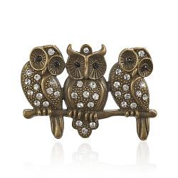 Gros pendentifs en alliage avec strass, chouette, bronze antique, sans nickel, cristal, 43x58x5mm, Trou: 3mm(RB-J134-01AB-NF)