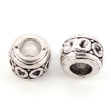 Tibetan Style Alloy European Bead Rhinestone Settings, Large Hole Beads, Cadmium Free & Lead Free, Rondelle, Antique Silver, Fit for 1.5mm rhinestone, 9.5x7.5mm, Hole: 5mm, about 480pcs/1000g(TIBEB-S039-002AS-RS)