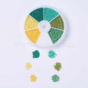 Spring Theme FGB 12/0 Round Glass Seed Beads, Baking Paint, Mixed Color, 2x1.5mm, Hole: 0.7mm, about 360~400pcs/color, 6color, about 2160~2400pcs/box(SEED-JP0007-06)