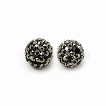 Perles de strass en argile polymère, Perles de boule pavé disco , Grade a, rond, pp 15, hématite, 10mm, Trou: 1.8~2mm(X-RB-C1438-10mm-A29)