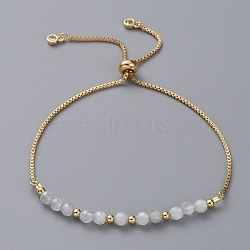 Adjustable Natural Moonstone Slider Bracelets, Bolo Bracelets, with Brass Box Chains, Cubic Zirconia, Brass Round Beads and Cardboard Packing Box, 9 inches(23cm)(X-BJEW-JB04929-02)