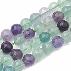 """Chapelets de perles en fluorite naturel, rond, 8~9mm, trou: 1mm; environ 45~48 pcs/chapelet, 15.7""""(G-S333-8mm-006)"""