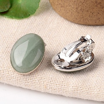 Natural Green Aventurine Oval Clip-on Earrings, with Platinum Plated Brass Findings, 21x15mm(X-EJEW-J091-07)
