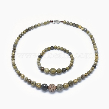 Natural Dendritic Jasper/Chohua Jasper Graduated Beads Necklaces and Bracelets Jewelry Sets, with Brass Lobster Claw Clasps, 17.5 inches(44.5cm), 2 inches(5cm)(SJEW-L132-08)