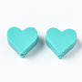 Turquoise Heart Silicone Beads(SIL-N002-11A-01)