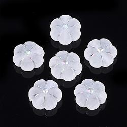 Paramètres de strass perle acrylique transparent, de couleur plaquée ab , mat, fleur, clair, s'adapter pour 2 mm strass; 10.5~11x10x5 mm, Trou: 1.4mm(X-TACR-T003-11)