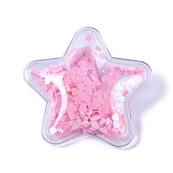 Pinces à cheveux en alligator en plastique, avec paillette en forme de coeur et base en fer platiné, étoiles, pearlpink, 47~48x49~50x14~15mm(PHAR-L005-C01)
