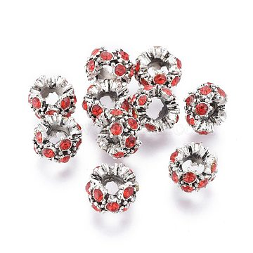 Alloy Rhinestone Spacer Beads, Rondelle, Antique Silver, Siam, 12~13x9mm, Hole: 6mm(RB-E534-01AS-D)
