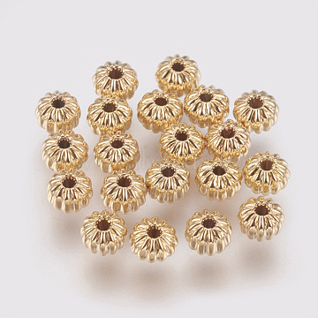 Brass Corrugated Beads, Rondelle, Nickel Free, Real 18K Gold Plated, 4x3mm, Hole: 1mm(X-KK-S314-4mm-13G)