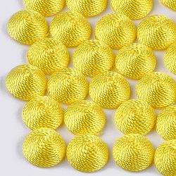 Cabochons en tissu de fil de polyester, recouvert de plastique abs, demi-rond / dôme, jaune, 12x6mm(WOVE-T008-02A-02)
