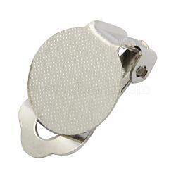 Bagues d'oreilles unies en laiton, couleur platine, taille:  Largeur environ 12mm, Longueur 16mm, hauteur de 4.3 mm , Trou: 3mm(X-KK-H166-N)