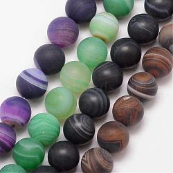 Natural Striped Agate/Banded Agate Bead Strands, Round, Grade A, Frosted, Dyed & Heated, Mixed Color, 10mm, Hole: 1mm; about 37pcs/strand, 15inches