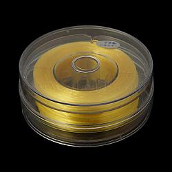 Flat Elastic Crystal String, Elastic Beading Thread, for Stretch Bracelet Making, Champagne Yellow, 0.8mm, 100m/box(EC-G002-0.8mm-23)