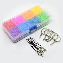 1 boîte tube pe perles à repasser fondantes, Conclusions de porte-clés en alliage 5pcs et sangles mobiles de boucle de cordon 5pcs, couleur mixte, perles: 5x5 mm, trou: 3 mm; porte-clés: 25 mm; sangles mobiles: 60 mm, Trou: 3.5mm(DIY-X0058)