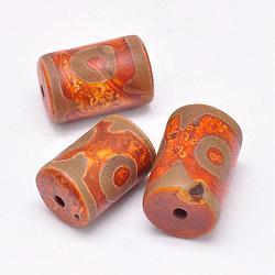 Perles de style tibétain, Perles d'agate naturelles, teints et chauffée, colonne, chocolat, 20~29x12~17mm, Trou: 2~3mm(TDZI-G009-B23)