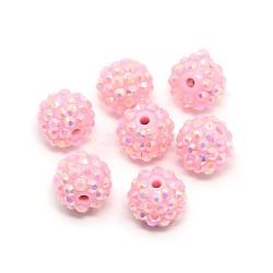Бусины со стразами из смолы, AB цвет, круглые, жемчужно-розовые, 14x12 мм, отверстие : 2 мм(RESI-S256-14mm-SAB8)