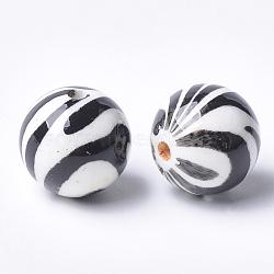 perles acryliques imprimés, arrondir, noir, 14x13.5 mm, trou: 2.5 mm(X-MACR-T024-53)