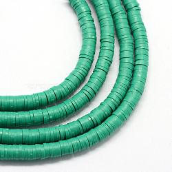 Perles artisanales à l'argile polymère artisanales, disque / rond plat, perles heishi, lightseagreen, 6x1 mm, trou: 2 mm; environ 380~400 perle / brin, 17.7(X-CLAY-R067-6.0mm-07)