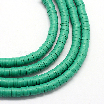 6mm LightSeaGreen Flat Round Polymer Clay Beads