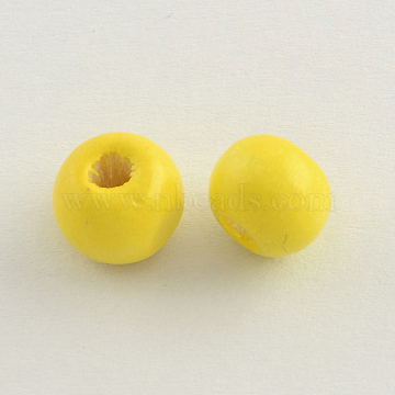 Dyed Natural Wood Beads, Round, Lead Free, Yellow, 8x7mm, Hole: 3mm(X-WOOD-Q006-8mm-03-LF)