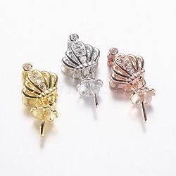 Soutiens-gorge plaqués durables micro pavé zircon cubique coupe perle cheville bails broches pendentifs, pour la moitié de perles percées, couronne, couleur mixte, 16mm, trou: 2x5 mm; broches: 0.8 mm(ZIRC-F069-56)