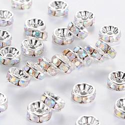 Spacer Strass, cuivre, Grade A, plat rond, plaqué argent, ab couleur, clair ab, taille: environ 8 mm de diamètre, 4 mm d'épaisseur, trou: 1.5 mm(X-RB-H035-28)