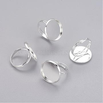 Adjustable Brass Pad Ring Bases, Silver Color Plated, Size: Ring: about 17mm inner diameter, Tray: 20mm in diameter, inner round: 18mm long, 18mm wide.(X-KK-B021-S)