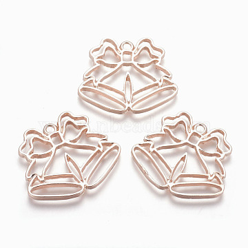 Rack Plating Alloy Open Back Bezel Pendants, For DIY UV Resin, Epoxy Resin, Pressed Flower Jewelry, Lead Free & Nickel Free, Christmas Bell, Rose Gold, 29x34.5x2.5mm, Hole: 2mm(X-PALLOY-Q351-18RG-FF)