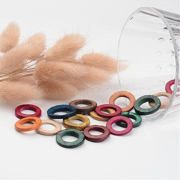 Dyed Wood Jewelry Findings Coconut Linking Rings, Mixed Color, 20~23x2~5mm(X-COCO-O006C-M)