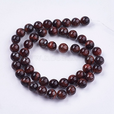 Natural Red Tiger Eye Stone Bead Strands(G-R193-08-8mm)-2