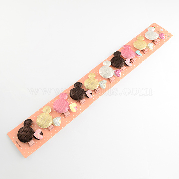 Mixed Girls Cute Hair Accessories Cloth Paillette Mouse Head Iron Alligator Hair Clips, Mixed Color, 53x43mm; 10pcs/group(PHAR-S268-15)