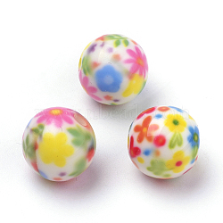 Opaque Printed Acrylic Beads, Round with Flower Pattern, Colorful, 10x9.5mm, Hole: 2mm(X-MACR-S271-10mm-22)