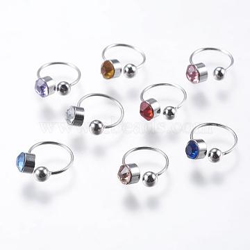 Brass Rhinestone Cuff Earrings, Mixed Color, 11x9mm; Inner diameter: 8mm(X-STAS-F147-05)
