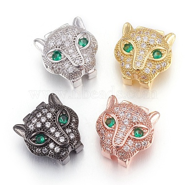 Mixed Color SpringGreen Leopard Brass+Cubic Zirconia Slide Charms
