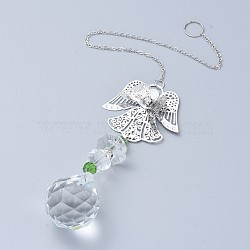 Crystal Ball Chandelier Prism Ornaments Hanging Suncatcher, with Iron Cable Chains, Glass Beads, Glass Rhinestone and Brass Pendants, Angel, Green, 335mm(AJEW-I040-11B)