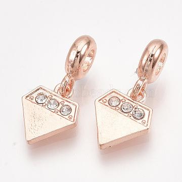 25mm Diamond Alloy+Rhinestone Dangle Beads
