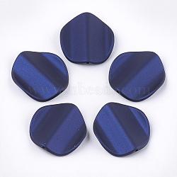 perles acryliques de style caoutchoutées, vague, pétale, darkblue, 35.5x33x8 mm, trou: 1.8 mm(MACR-T026-22A)