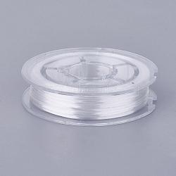 chaîne de cristal élastique plat, fil de perles élastique, pour la fabrication de bracelets élastiques, blanc, 0.4 mm, 15 m / rouleau(EW-G010-A11)
