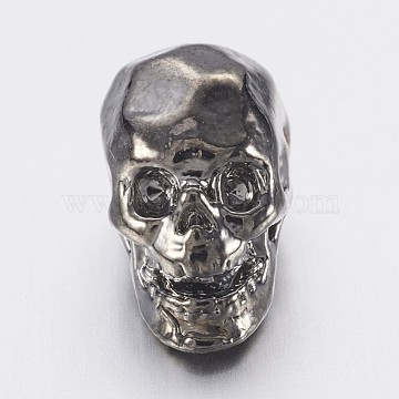 Alloy Beads, Skull, Gunmetal, 12x7x9.5mm, Hole: 1.2mm(X-PALLOY-F143-04B)